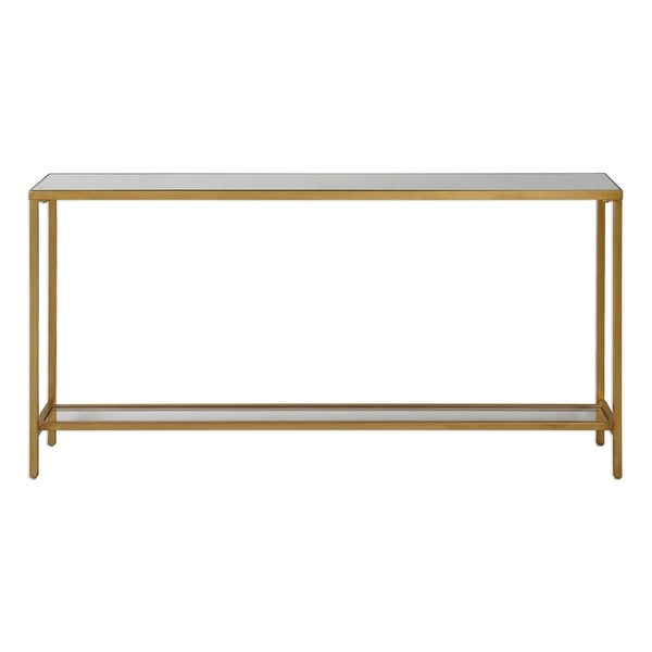Uttermost 24685 Hayley 60 Inch Wide Metal Console Table With Mirrored Top And Gl Antiqued