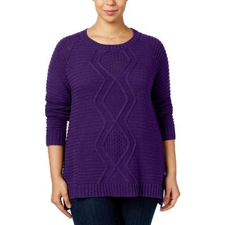 NY Collection Womens Plus Pullover Sweater Cable Knit Scoop Neck