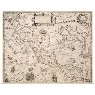 """""""Map of California and Mexico"""" Poster Print"""