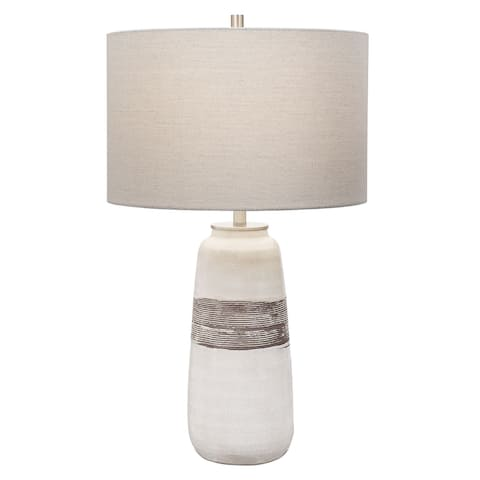 Uttermost Comanche White Crackle Table Lamp