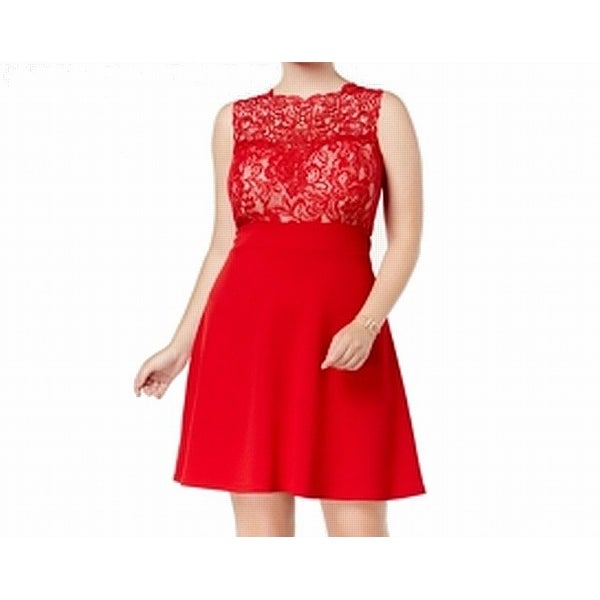 Love Squared Red Womens Size 3X Plus Floral Lace A-Line Dress