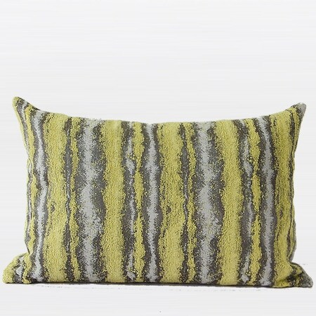 "G Home Collection Luxury Lemon Yellow Mix Color Stripe Pattern Metallic Chenille Pillow 14""X20"""