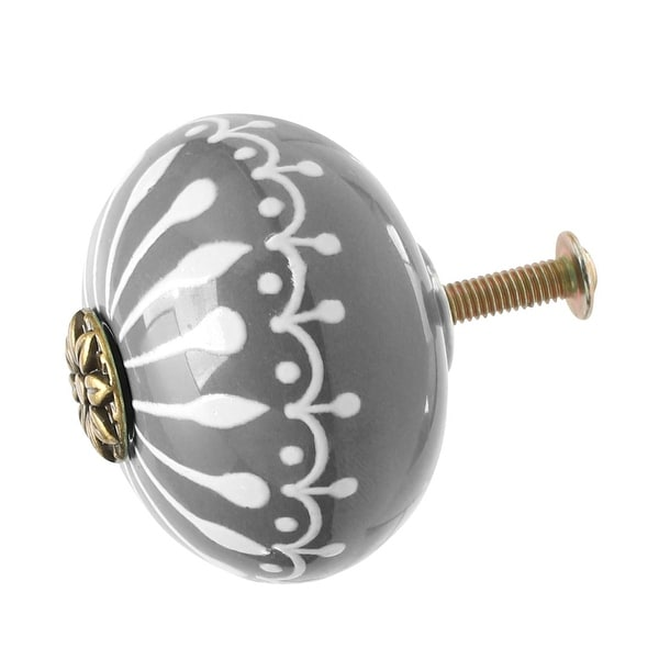 Ceramic Knobs Drawer Round Pull Handle Furniture Door Cabinet Cupboard Wardrobe Dresser Door Replacement Grey - 1pcs
