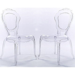 2xhome Set Of 2 Clear Plastic Side Chairs Dining Chair Modern Polycarbonate  Transparent Crystal Living Room