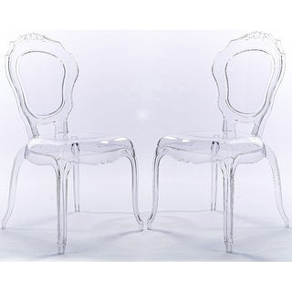 2xhome Set of 2 Clear Plastic Side Chairs Dining Chair Modern Polycarbonate Transparent Crystal Living Room Desk