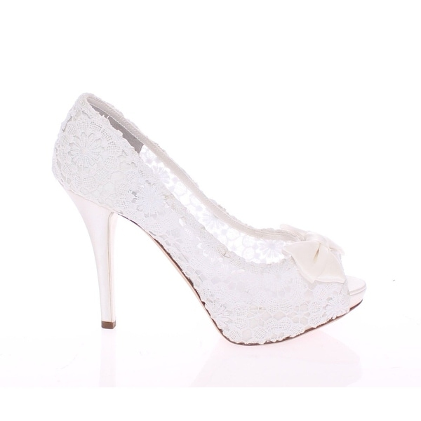 a3401e264fc Shop Dolce   Gabbana White Lace Platform Open Toes Pumps Shoes - 39 ...