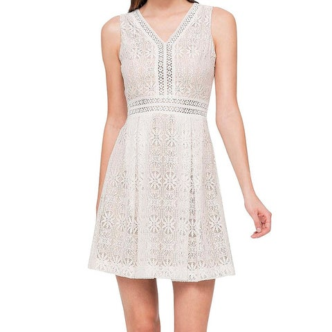 Jessica Simpson White Womens Size 2 Floral Lace Sheath Dress