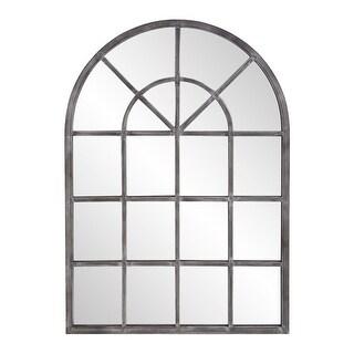 "Delacora HE-13359  Fenetre 41"" x 29"" Arched Farmhouse Style Window Pane Wall Mirror - Antique Silver"
