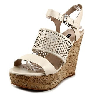 French Connection Devi Open Toe Leather Wedge Sandal