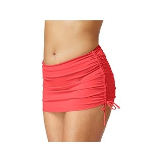 Island Escape Womens Plus Hamptons Ruched Skirtini Swim Bottom Separates (3 options available)