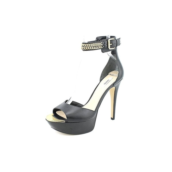 GUESS Womens Ornica Leather Open Toe Casual Platform Sandals