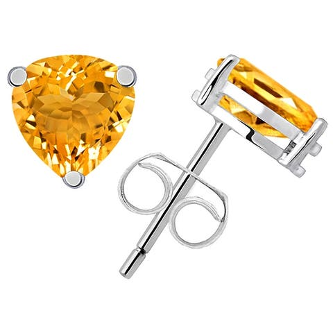 Citrine Sterling Silver Triangle Stud Earrings By Orchid Jewelry