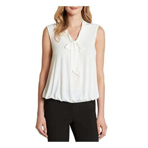 TAHARI Womens Ivory Sleeveless Tie Neck Wear To Work Top Size PL