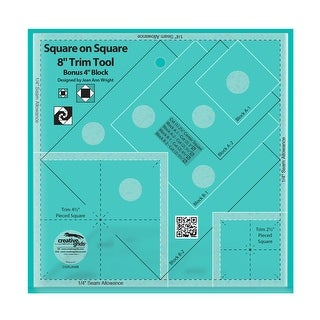 """Link to Creative Grids Square on Square Trim Tool - 4in or 8in Finished - 0.25"""" x 8"""" x 8"""" Similar Items in Sewing & Quilting"""