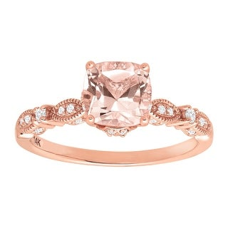 1 1/2 ct Natural Morganite & 1/5 ct Diamond Ring in 14K Rose Gold - Pink