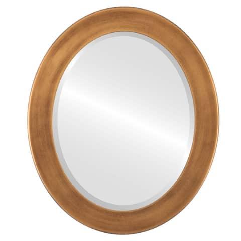 Cafe Framed Oval Mirror in Sunset Gold