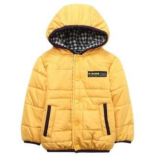 Richie House Little Boys Yellow Fleece Lining Hooded Padding Jacket 1-5