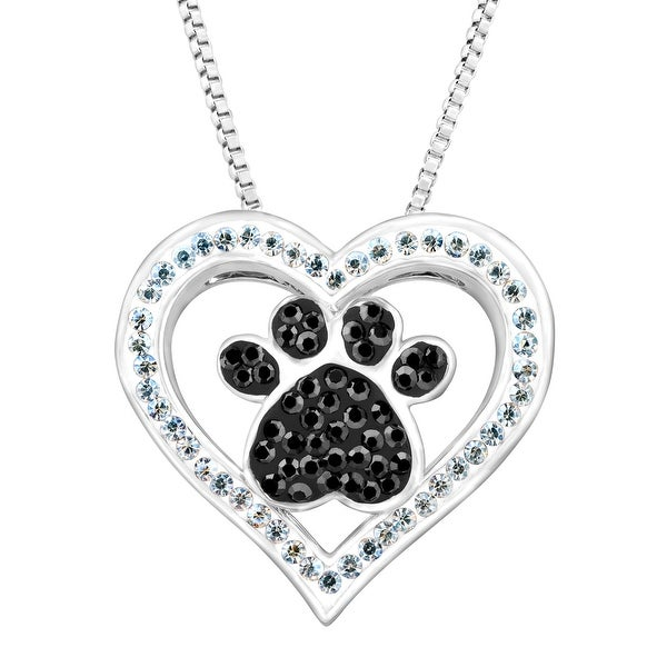 Crystaluxe Paw & Heart Pendant with Swarovski Crystals in Sterling Silver-Plated Brass - Black