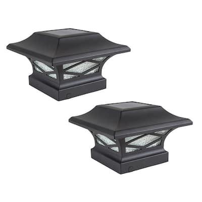 Classy Caps Kingsbridge Black Dual Lighted Solar Post Cap (Set of 2) - N/A
