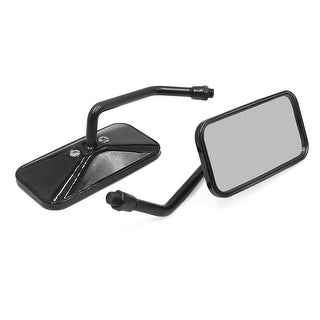 Pair 10mm Thread Dia Rectangle Shaped Motorcycle Handlebar Rearview Mirror Black