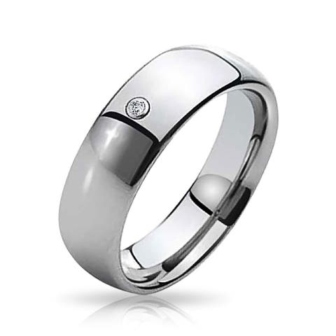 Simple .10CT CZ Accent Dome Couples Wedding Band Titanium Rings 6MM