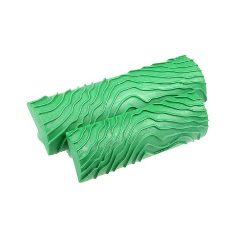 """Wood Grain Tool 5"""" 4"""" Rubber Square Graining Pattern Wall Decoration Green 1 Set - MS8L-3.5+5"""" 2in1 Set"""