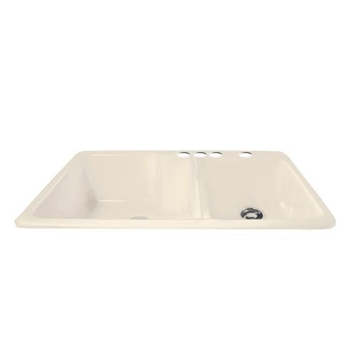 "Miseno MCI36-4TM 36"" Cast Iron Double Basin Kitchen Sink for Drop In Installations with 60/40 Split and Sound Dampening"