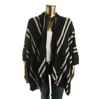 Private Label Womens Cashmere Striped Poncho Sweater