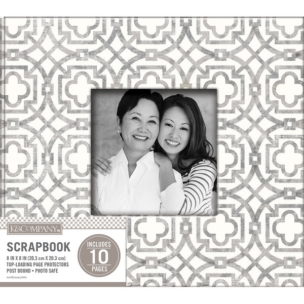 "K&Company Patterned Post Bound Window Album 8""X8""-Gray Geo"