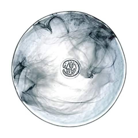 Kosta Boda Mine Small Glass Plate with Black Swirl Design