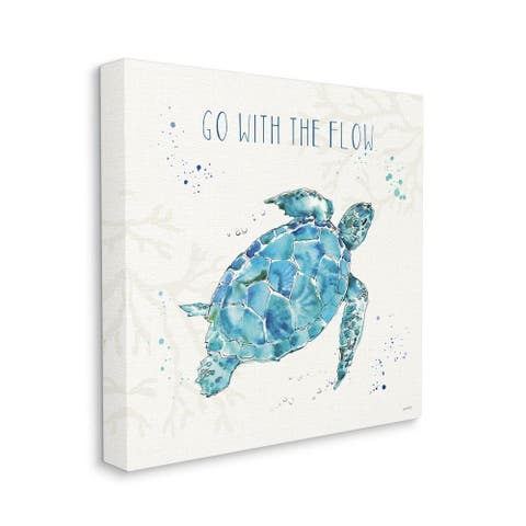 Stupell Industries Go with the Flow Quote Turtle Tortoise Blue Green Watercolor Canvas Wall Art
