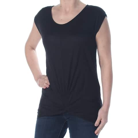 INC Womens Black Ruched Twist Waist Heather Short Sleeve Scoop Neck T-Shirt Top Petites Size: S