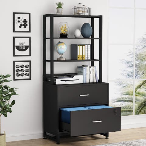 2 Drawer File Cabinet with Lock & Open Shelves, Letter Size, Black / Brown