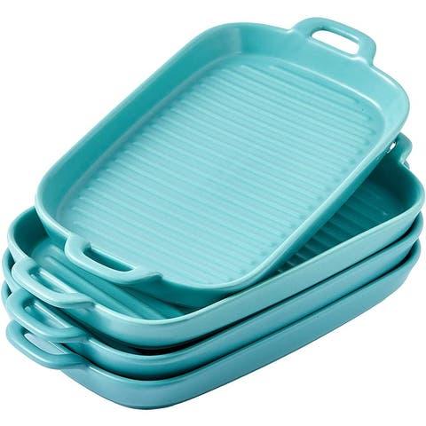 Bruntmor Set Of 4 Ceramic Matte Glaze Baking Dish Dinner Plates, Oven Safe Lasagna Pan With Handle Rectangular Dish
