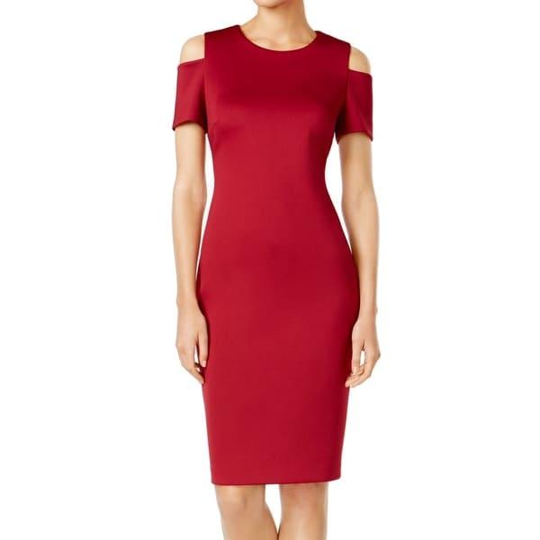 173584ebdc60 Shop Calvin Klein Womens Cold-Shoulder Scuba Sheath Dress - Free Shipping  Today - Overstock - 22528854