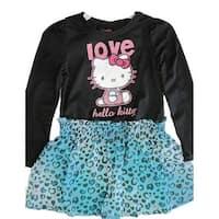 Hello Kitty Little Girls Black Blue Leopard Spot Applique Dress 4-6X
