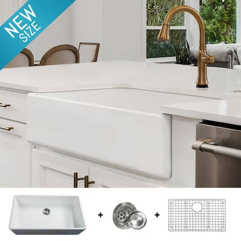 Luxury 36 inch Modern Fireclay Farmhouse Kitchen Sink, Single Bowl, White, Flat Front, includes Drain & Grid, by Fossil Blu