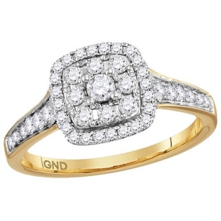 14kt Yellow Gold Womens Round Natural Diamond Round Halo Bridal Wedding Engagement Ring 5/8 Cttw - White