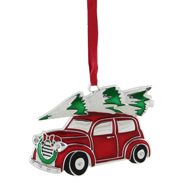 "3.25"" Red, White and Green Silver Plated Car with Tree and Wreath Christmas Ornament"