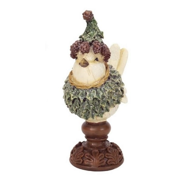"""6.75"""" Cream White and Green Holly Bird on Pedestal Christmas Tabletop - beige"""