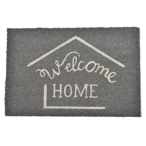 Front Door Mat Welcome Home Coir Coco Fibers Rug 24x16 Inch Grey