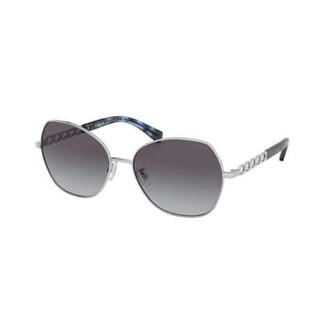Coach HC7112 90018G 56 Shiny Silver Woman Irregular Sunglasses