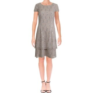 Alex Evenings Womens Cocktail Dress Lace Sequined