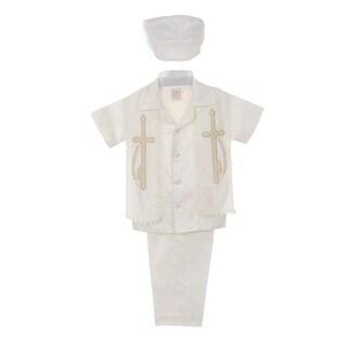 Rain Kids Baby Boys Ivory Shantung Silk Guayavera Shirt Stole Pants Baptism Set 6-12M