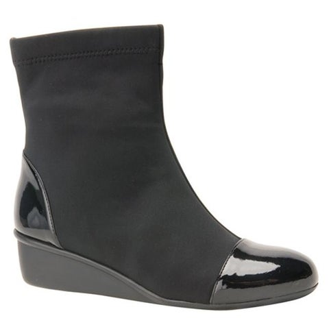 Ros Hommerson Women's Easton Wedge Ankle Boot Black Stretch Fabric