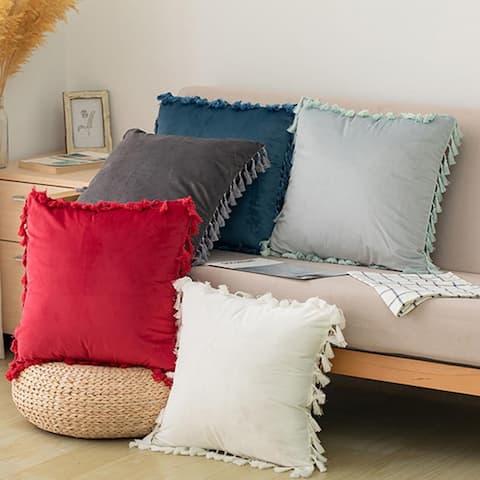 """AIR 18"""" x 18"""" Soft Velvet Tassel Cushion Decor Throw Pillowcovers"""