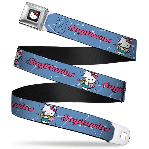 Hello Kitty W Red Bow Full Color Black Hello Kitty Zodiac Sagittarius Seatbelt Belt