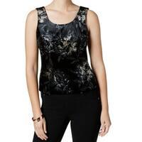 Kasper Black Beige Womens Size 8 Floral Printed Velvet Tank Top
