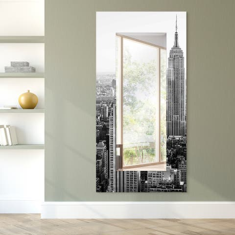 """""""My N.Y."""" Rectangular Beveled Wall Mirror on Free Floating Tempered Glass - Clear - 72 x 36"""