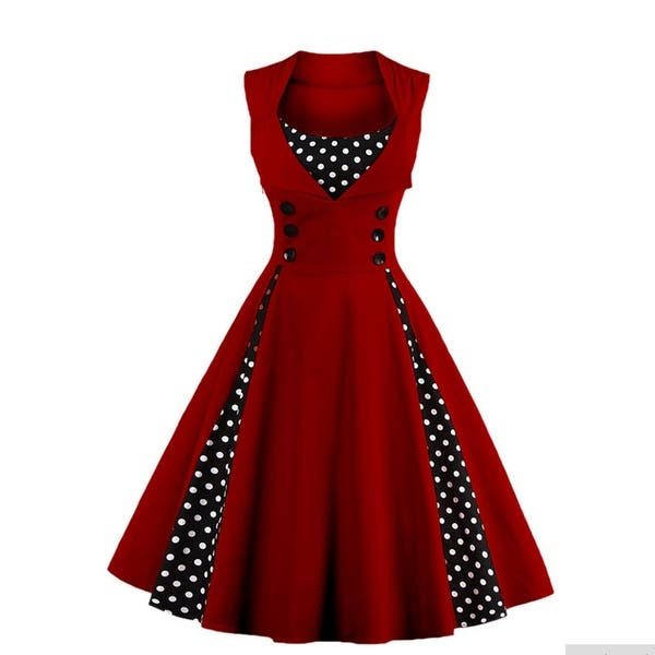 8355bfefff45d Shop Women's Polka Dot Retro Vintage Style Cocktail Party Swing ...